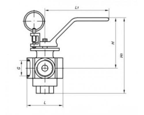 Кран КШ.М.3Х трехходовой муфтовый