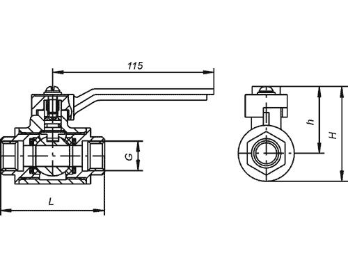 Краны шаровые муфтовые КШ 40.25.1130 DN40, Ру2,5