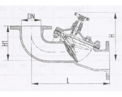 Захлопки путевые фланцевые угловые 529-35.1402-01, Ру 6,3