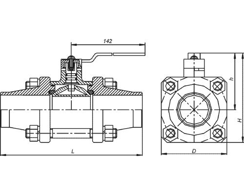 Краны шаровые под приварку КШ 80.16.4120 DN80, Ру1,6