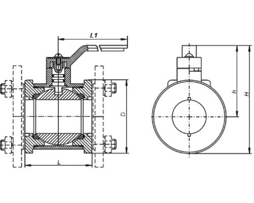 Краны шаровые межфланцевые КШ 50.16.0120 DN50, Ру1,6